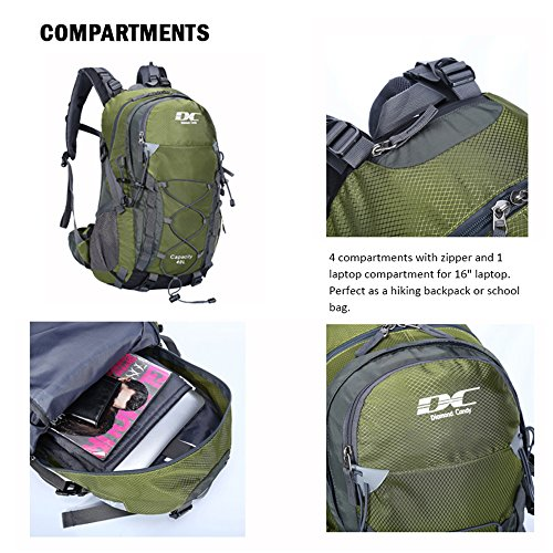 Diamond Candy Waterproof Hiking Backpack for Men and Women, 40L Lightweight Day Pack for Travel Camping