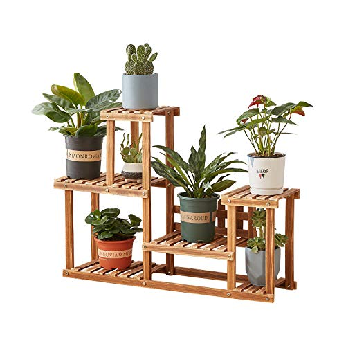 Plant Stand,Homchwell Pine Wood Plant Stand Indoor Outdoor Multi Layer Flower...