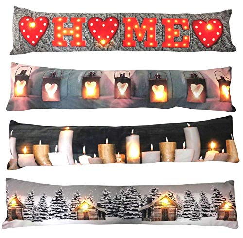 Bargains Hut LED Light Up Christmas Draught Excluder Draft Accessory Novelty Door Cushion Polyester Lovely Room Decoration Toy Xmas Winter Gift 88cm Assorted