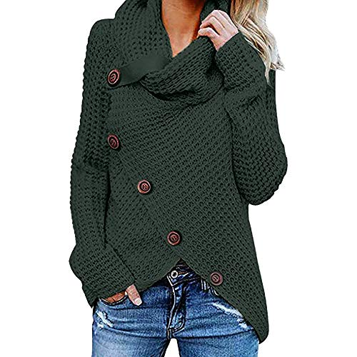Jerseys De Punto para Mujer Cuello de Tortuga Manga Larga Suelto Prendas de Punto Suéter Irregular Jerséis Collar de la Pila Tops Cálido Otoño Invierno riou (z-Green, M)