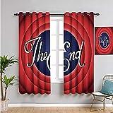 Pcglvie Colección de decoración de los años 50, cortinas térmicas con aislamiento térmico, cortinas de 84 pulgadas de largo, fáciles de instalar, rojo, azul marino, blanco
