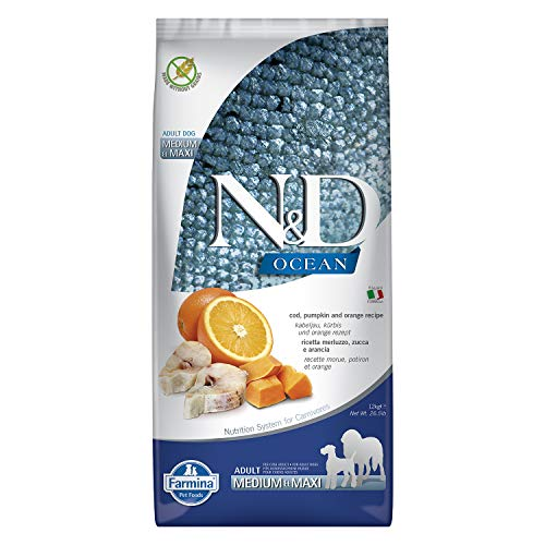 Farmina - N&D Dog Ocean Merluzzo, Zucca e Arancia Adult Medium e Maxi 12 kg