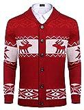 COOFANDY Mens Christmas Knitwear Xmas Cardigan Sweater Reindeer Snowflake Ugly Knitted Wear (Red XXL)
