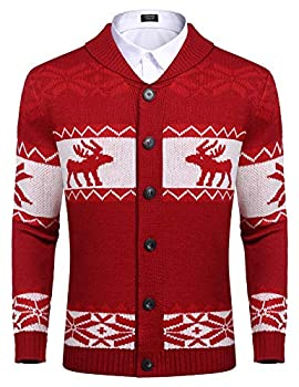 COOFANDY Men s Snowflake Pattern Christmas Sweater Xmas Warm Casual Knitted Button Up Cardigan  Red S