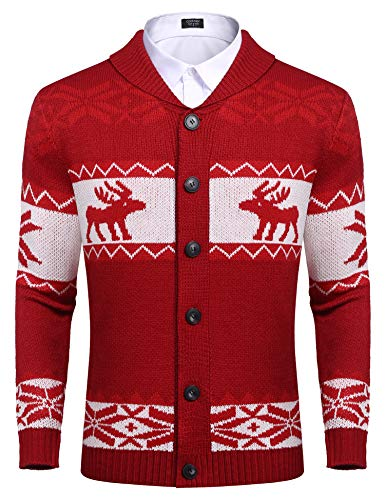 COOFANDY Unisex Reindeer Snowflake Knitted Ugly Christmas Cardigan Button Front Sweater Knitwear (Red L)