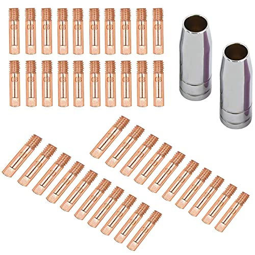 """SPRIGHOLLY 42PCS Mig Contact Tips MIG Welding MB15 Consumables Contact Tip 0.030""""-0.035"""" (0.8/1.0mm)MIG/MAG Welding Torch Consumables Kit"""