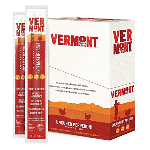Vermont Smoke & Cure Jerky Sticks - Antibiotic Free Turkey - Gluten Free - Great Keto Snack, High in Protein & Low Sugar - Uncured Pepperoni Stick, 24 Count (1 Oz each), 24 Oz