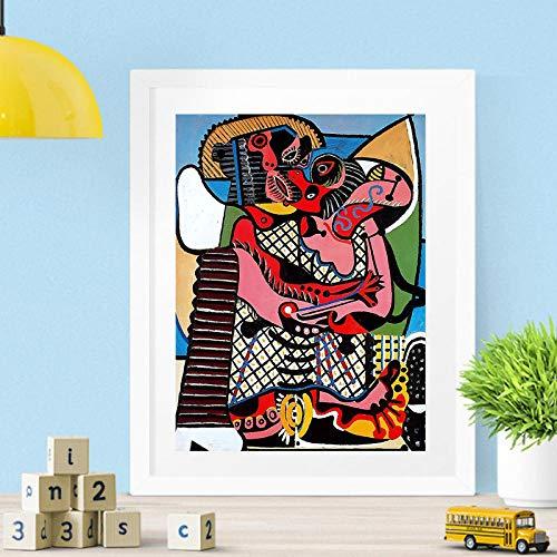 Der Kuss von Picasso Wandkunst Leinwand Poster Drucke Abstrakte Malerei Öl Wandbilder für Wohnzimmer Wohnkultur Zubehör HD -50x70cm (kein Rahmen)