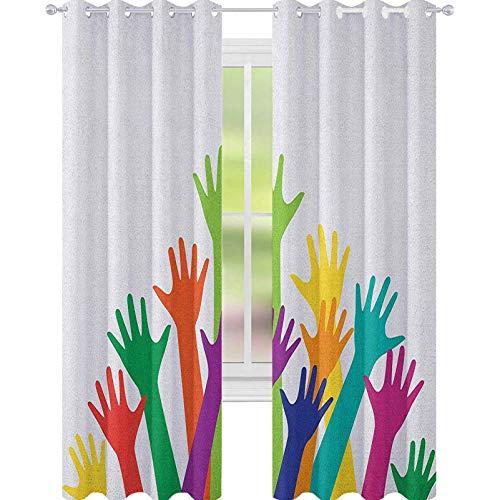 YUAZHOQI - Cortinas opacas de colores vivos con silueta de manos infantiles, amistad, juntos, futuro, cortinas opacas, para dormitorio, 132 x 182 cm, multicolor