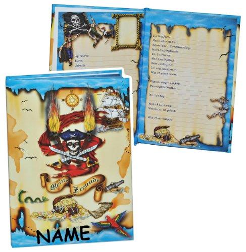 Meine Freunde Buch - Pirat für Jungen - mit Name - dick gebunden für Schulfreunde Poesie A5 Hardcover - Freundebuch Poesiealbum Kinder Schule