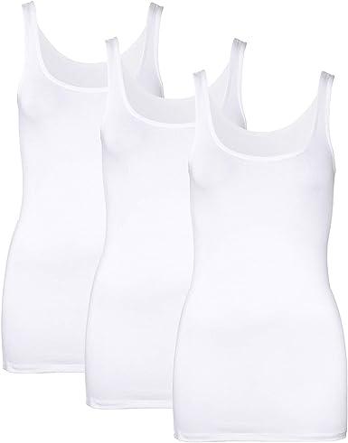 Camisetas sin Mangas para Mujer Básicas Tops Largos para Mujer Camiseta Interior Cuello Redondo Paquete de 3
