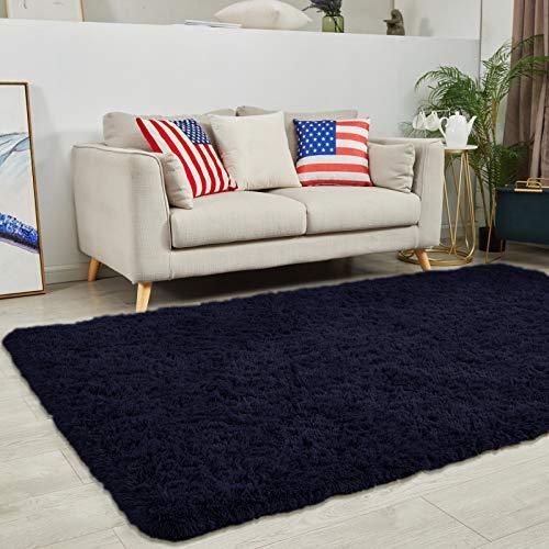Oleberg Modern Soft Plush Area Rug for Living Room, 3x5 Navy Fuffy Shag Rug Bedroom Shaggy Furry Accent Fuzzy Cute Carpets for Kids Girl Boys Nursery Dorm Apartment Indoor Home Decor