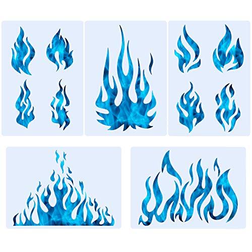 5 Blatt Flamme Schablone Airbrush Flamme Schablone Feuer wiederverwendbar Vorlagen Flamme Malerei Dekor Vorlage für Kunst Fenster Wand Handwerk Malerei Dekorationen (30 x 20 cm)