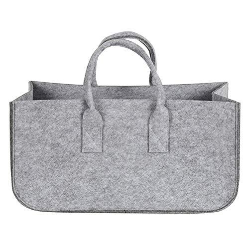 Sac en feutre pour bois de chauffage, journaux, magasins, rangement en bois de poche de grande capacité pour sac à main, stalls bûche (gris)
