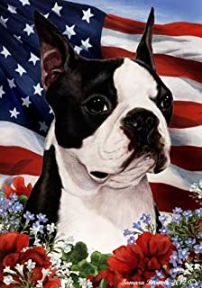 Boston Terrier Dog Breed Patriotic House Flag 28 x 40 Inches