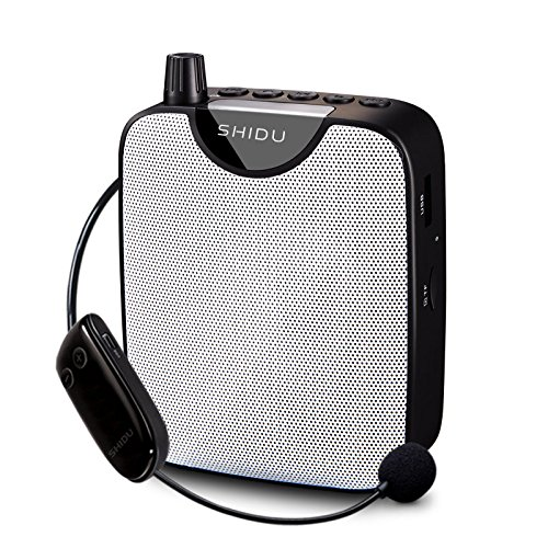 Amplificador de voz portátil inalámbrico, SHIDU Sistema de megafonía recargable con micrófono de auriculares inalámbricos FM, Función de grabación, Enseñanza, Coaching, Presentaciones