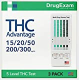 3 Pack - DrugExam THC Advantage Made in USA Multi Level Marijuana Home Urine Test Kit. Highly Sensitive THC 5 Level Drug...