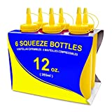 New Star Foodservice 26498 Squeeze Bottles, Plastic, 12 oz, Yellow, Pack of 6