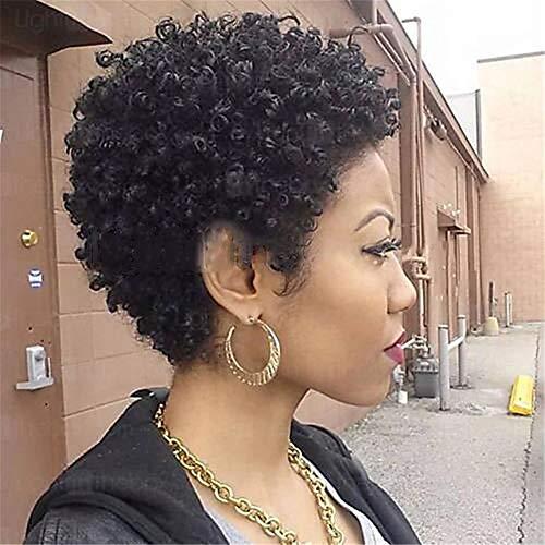Perruque de cheveux humains courte perruque Coupes de cheveux Pixie écourtée machine en Black Women Natural Brown,Noir