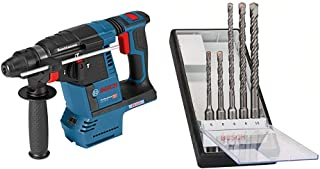 Bosch Professional GBH 18 V-26 Cordless Rotary Hammer Drill (Without Battery and Charger), Carton and Bosch 5 Piece Robust...