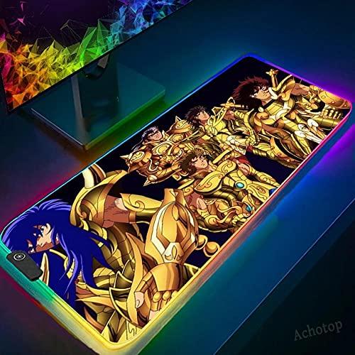 Podkładki pod mysz do gier anime Saint Seiya RGB podkładka pod mysz XXL rozszerzona klawiatura i podkładka pod mysz na biurko z antypoślizgową gumową podstawą - 50 cm x 90 cm