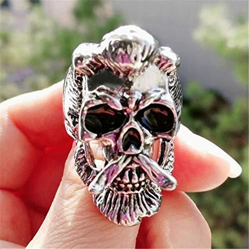 YDY Domineering Skull Goat Fashion Hipster Anillo de Hombre Joyería de Fiesta de Vacaciones Decoración Halloween, 13, D