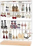 QILICZ Schmuckständer Ohrringständer 100 Löcher Ohrringhalter, 5 Tier Metal Ohrring Organizer mit Holz Base, Weiß Ohrstecker Display Schmuckhalter - 35x27cm Ohrschmuck Aufbewahrung