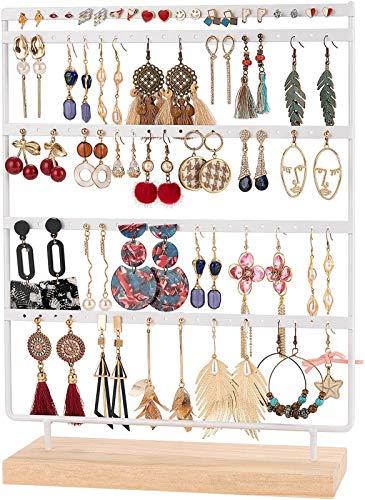 QILICZ Portagioie con 100 fori, porta orecchini, 5 animali, in metallo, con base in legno, bianco, espositore per gioielli, 35 x 27 cm