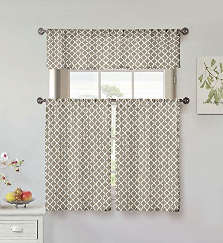 Home Maison Moana Geometric Print Linen Textured Kitchen Tier & Valance Set | Small Window Curtain for Cafe, Bath, Laundry, Bedroom, Taupe