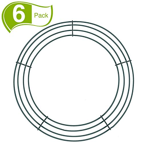 Sumind 6 Pieces Dark Green Wire Wreath Rings Wire Wreath Frame for New Year Valentines Decoration (12 Inch)