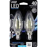 Feit Electric BPCTC40/850/LED/2 Chandelier Bulb, Candelabra Base, Clear Torpedo Tip, 40 Watt Equivalent Daylight 5000°K, 2 Pack