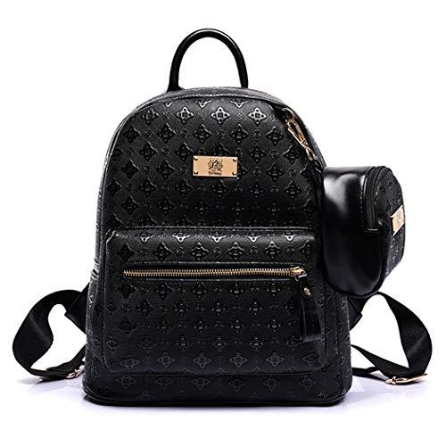 rucksack women, Bageek black backpack womens 2PCS fashion ladies backpacks with coin purse PU leather back packs women school backpack