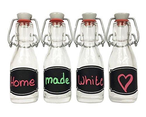 hocz 6/10/12 Set Bügelflaschen Bügelflasche Glasflaschen | Füllmenge 200ml | Tafel-Etiketten Kreidetafel Tafelfolie T C | mit Bügelverschluss Selbstbefüllen | Grappa Likörflaschen (6 Stück)