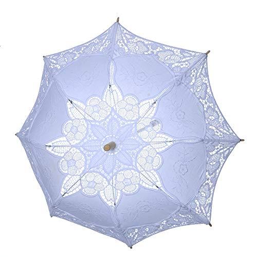 serliy Spitze Sonnenschirm Griff Regenschirm Vintage handgemachte Party Braut Hochzeit Dekoration (Weiß, L)