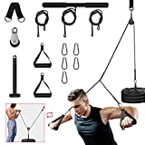 FASPUP Pulley Cable System Machine Arm Trainer Equipment Workout LAT & Tri Pull Down System with Foam Handle and Single Bar for Home Gym Garage Chest Biceps Triceps ABs Strength Training Exercises