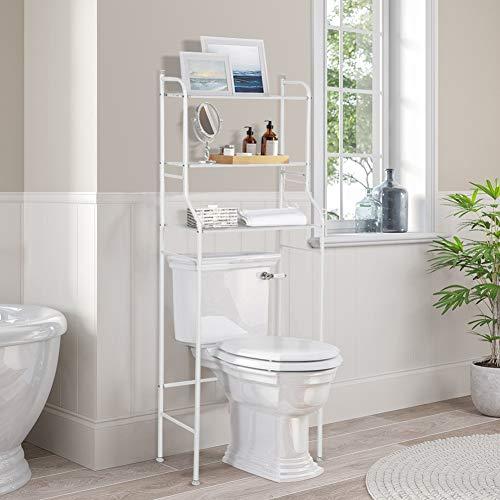Estante para inodoro, 3 capas Hierro Baño Estante para piso Estante para lavadora Toallas y otros artículos de tocador, 56 x 25 x 151 cm (blanco)