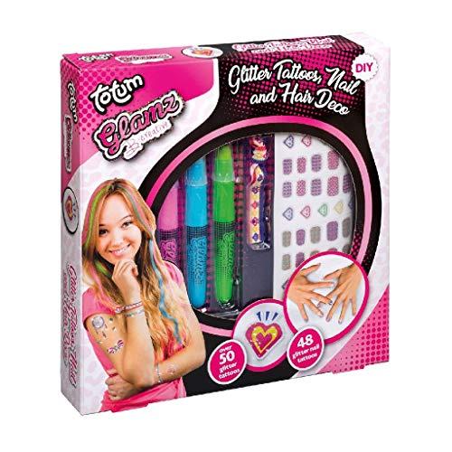 Totum Glamz Kreativset: Glitzertattoo-, Haar- und Nagelset, 3 verschiedene Haarkreidefarben, Ibiza-Elastikband, 50 Glitzertattoos, 48 Nagelsticker, 50020