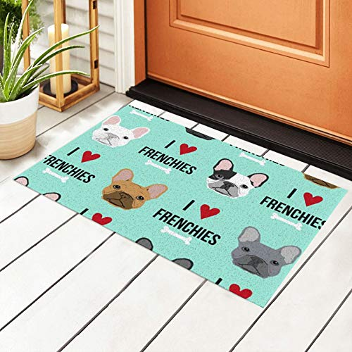 antcreptson Frenchie Dog PVC Super Absorbent Outdoor Welcome MAT(15.7x23.6 inches)–Non-Slip Net Backing,Heavy Duty,Waterproof,Easy Clean,Low Profile Mat for Entry,Dust Trapper,Eco-Friendly