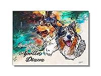 Printon 愛犬/猫 2匹のオーダーメイド 絵 F3号パネル (230x320x15mm) (バックピクチャー 油絵系)