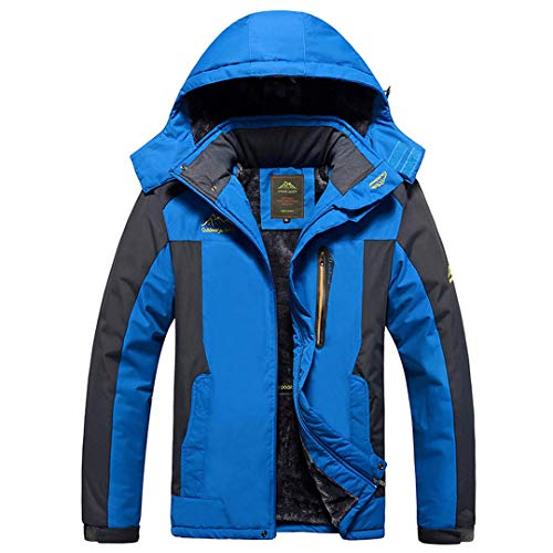 Jackenstr Winter Herren Fleece Sport im Freien wasserdichte wandernde kampierende Trekking Anoraks Blue 5XL