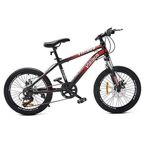 Viribus 6-Speed 20in. Mountain Bike | Lightweight Kids Mountain Bike with Dual Disc Brakes and Front Suspension Fork | Aluminum Frame Bicycle with Adjustable Seat Saddle for Boys and Girls Ages 6-10