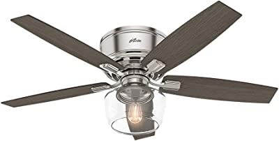 """Hunter Fan Company 53394 Hunter Bennett Indoor Low Profile Ceiling Fan with LED Light and Remote Control, 52"""", Brushed Nickel"""