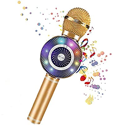 Wireless 4 in 1 Bluetooth Karaoke Microphone with LED Lights, Portable Microphone Karaoke Player Speaker for Kids, Best Gifts Handheld Singing Toys for 4 6 8 10 12 Year Old Girls Boys