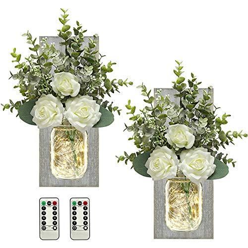 OUZHOU Aplique de pared rústico lámpara de pared decorativa hecha a mano colgante tarro luz control remoto flor artificial arte lámpara para sala dormitorio decoración