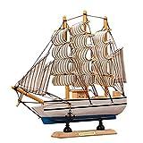 Kangkang@ Wooden Ship Model Miniatur Marine Wood Maritime Boat Nautical Sailing Ship Home Desk Decoration Decor Crafts Random Base Color