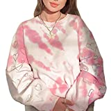 Damen Tie Dye Langarm Pullover Loose Heart Print Sweatshirt Tops Y2K Crewneck Farbe Bluse (Pink-M, S)