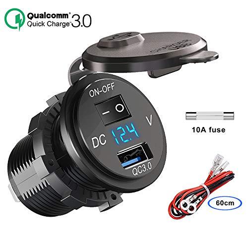 QC 3.0 USB Steckdose KFZ 12V/24V, Quick Charge 3.0 Auto Ladegerät Einbau Buchse Wasserdicht Zigarettenanzünder Adapter mit Schalter LED Voltmeter Spannungsanzeige für Motorrad Boot LKW Wohnwagen ATV
