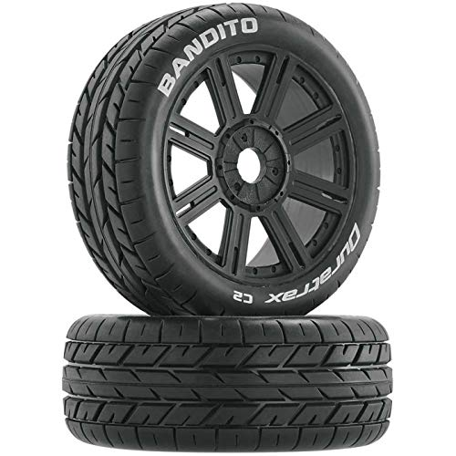 Duratrax Bandito 1:8 Scale RC Buggy Tires with Foam Inserts, C2 Soft Compound, Mounted on Black Wheels (Set of 2)
