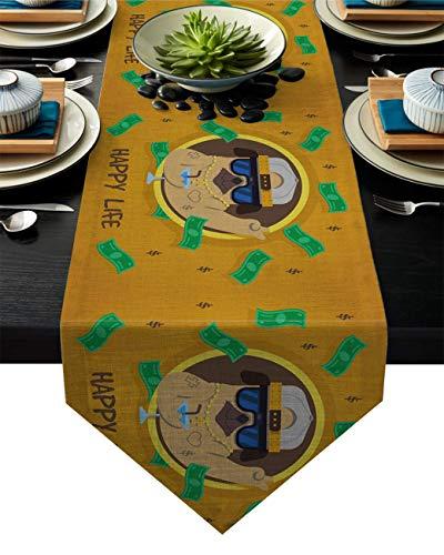 Camino de Mesa Rich Brown Bulldog con Gafas de Sol y patrón de champán Camino de Mesa pequeño Camino de Mesa de macramé,decoración de Mesa con Estilo clásico