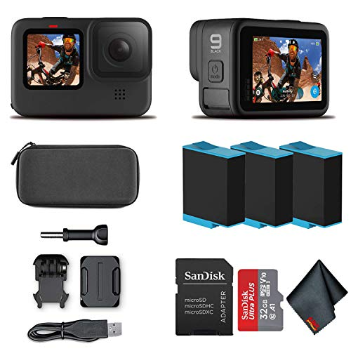 GoPro HERO9 Black - Waterproof Action Camera with Front LCD and Touch Rear Screens, 5K HD Video, 20MP Photos, 1080p Live Streaming, Stabilization + 32GB Card and 2 Extra Batteries